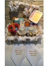 cesta de café da manhã para bodas de prata e bodas de ouro