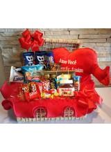 cesta de chocolates minha paixão cor vermelha