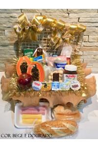 cesta de café da manhã sublime cor bege e dourado